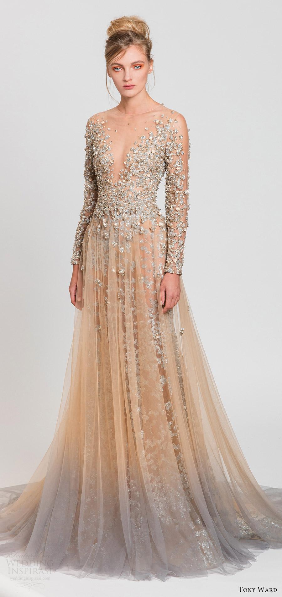 a20bdea7c8 tony ward spring 2017 rtw illusion long sleeves deep v neck blush fully  embellished aline dress