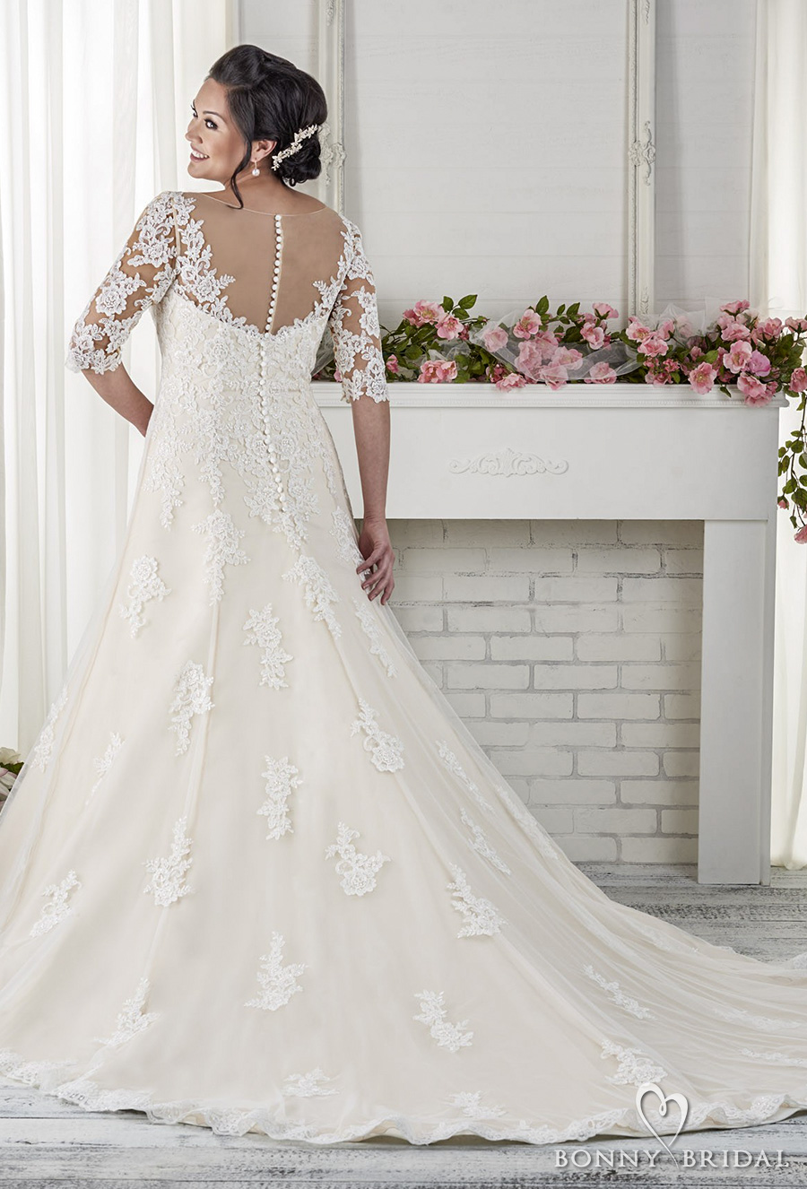Neckline Lace And Dress Soft Tulle Flare Sweetheart And Embellished Line Fit Wedding