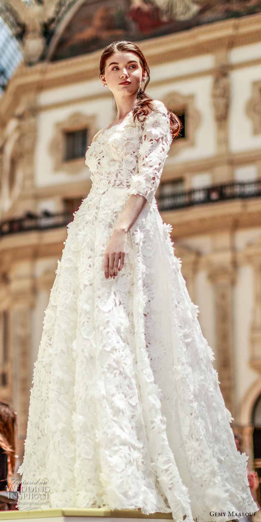 gemy maalouf 2017 bridal three quarter sleeves off the shoulder straight across neck full embellishment romantic princess a line wedding dress sweep train (w17 4871) sdv
