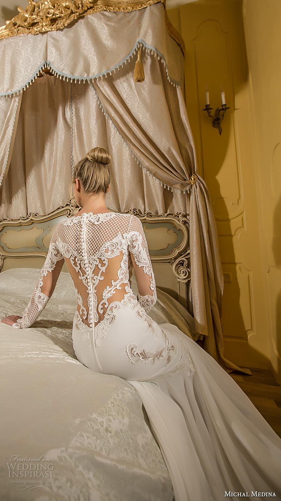 michal medina 2017 bridal long sleeves bateau neckline heavily embroidered bodice elegant fit and flare wedding dress lace back royal train (elizabeth) bv