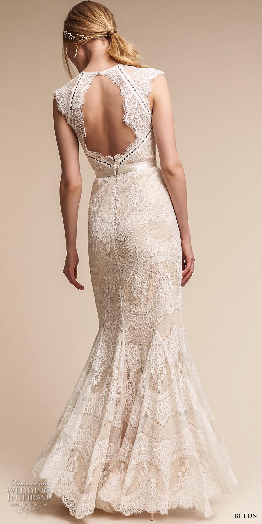 bhldn spring 2017 bridal cap sleeves illusion jewel sweetheart neckline full embellishment elegant sheath wedding dress keyhole back sweep train (suri) bv