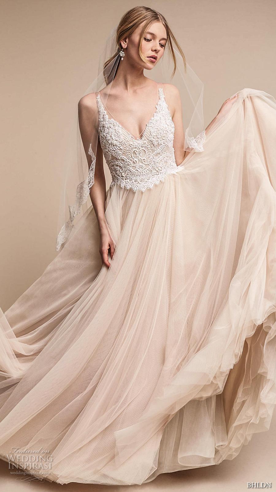 927878a19d78 bhldn spring 2017 bridal sleeveless v neck heavily embellished bodice tulle  skirt romantic princess blush color