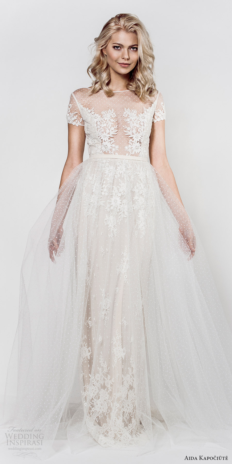 aida kapociute 2017 bridal illusion short sleeves bateau neck sheer lace bodice sheath a line overskirt (14) mv