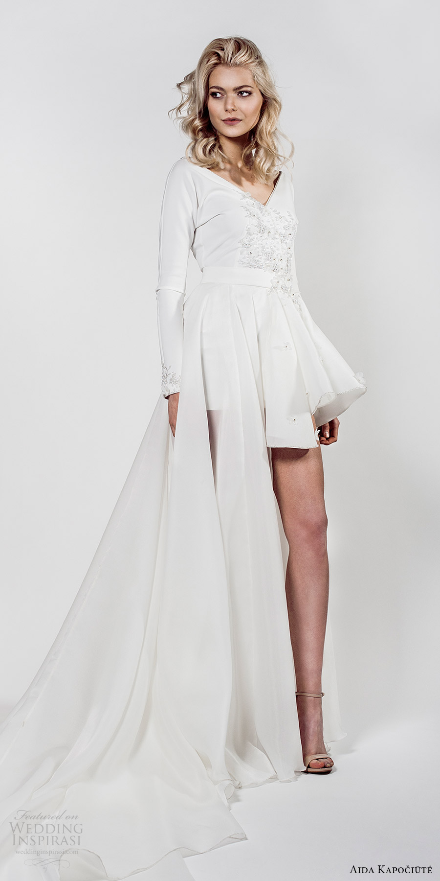aida kapociute 2017 bridal long sleeve v neck high low a line wedding dress (10) mv