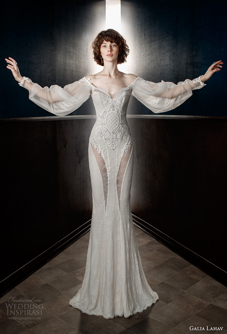 galia lahav spring 2018 bridal long bishop sleeves off the shoulder sweetheart neckline heavily embellished bodice vintage fit and flare wedding dress sweep train (thelma) mv