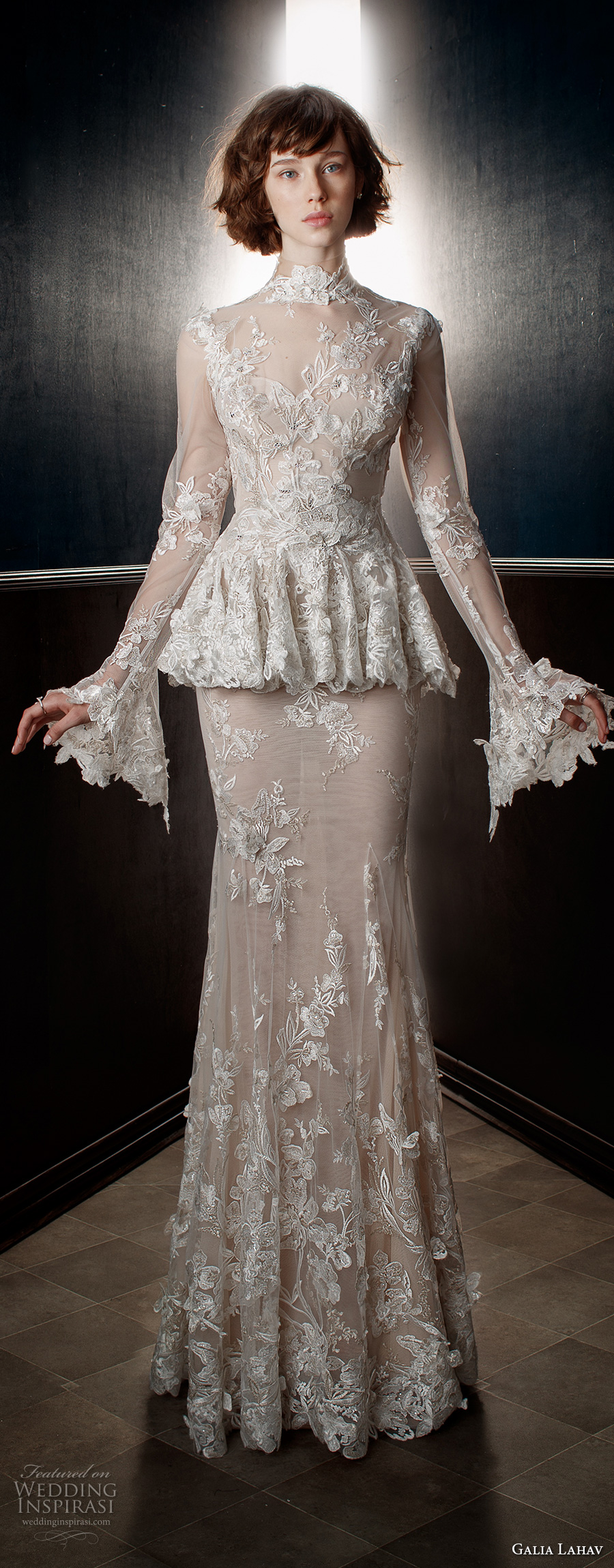 galia lahav spring 2018 bridal long sleeves sheer high neck sweetheart neckline full embellishment peplum victorian vintage sheath wedding dress keyhole back sweep train (tesla) mv