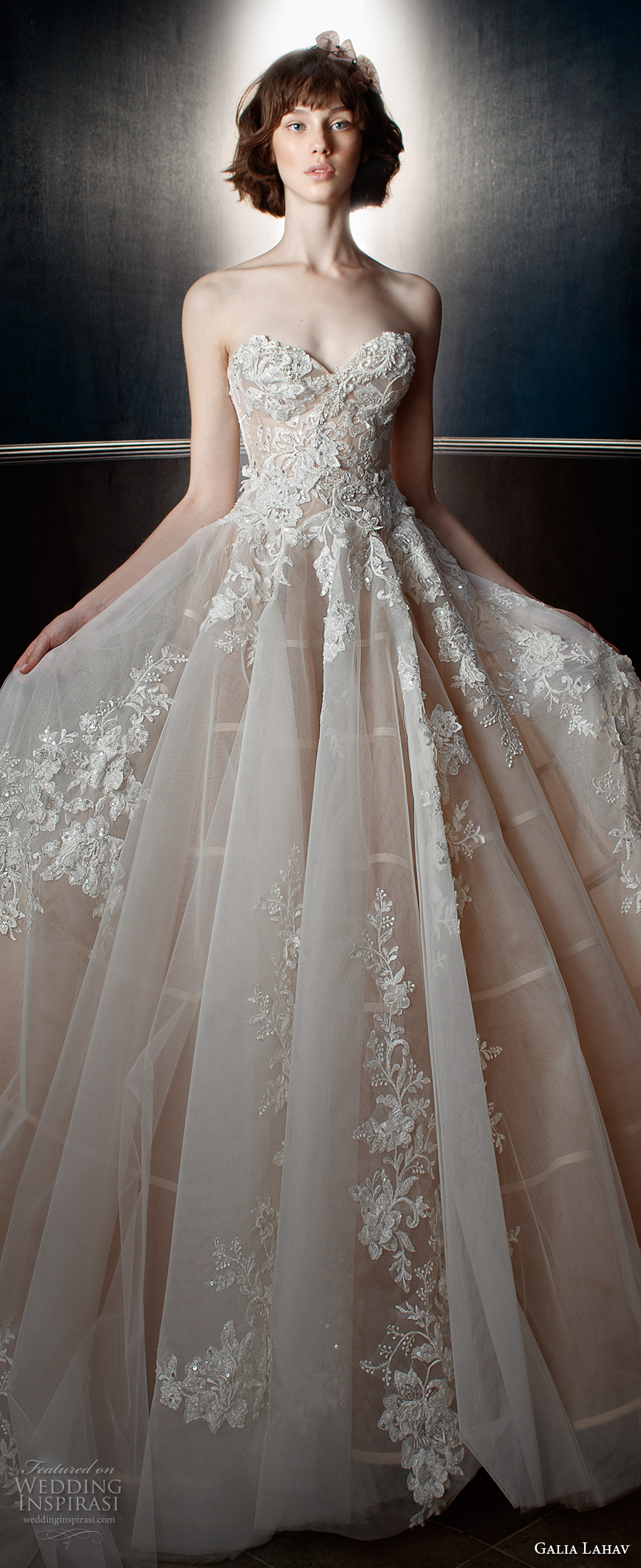 galia lahav spring 2018 bridal strapless sweetheart neckline heavily embellished bodice romantic princess blush color ball gown a  line wedding dress chapel train (alma) zv