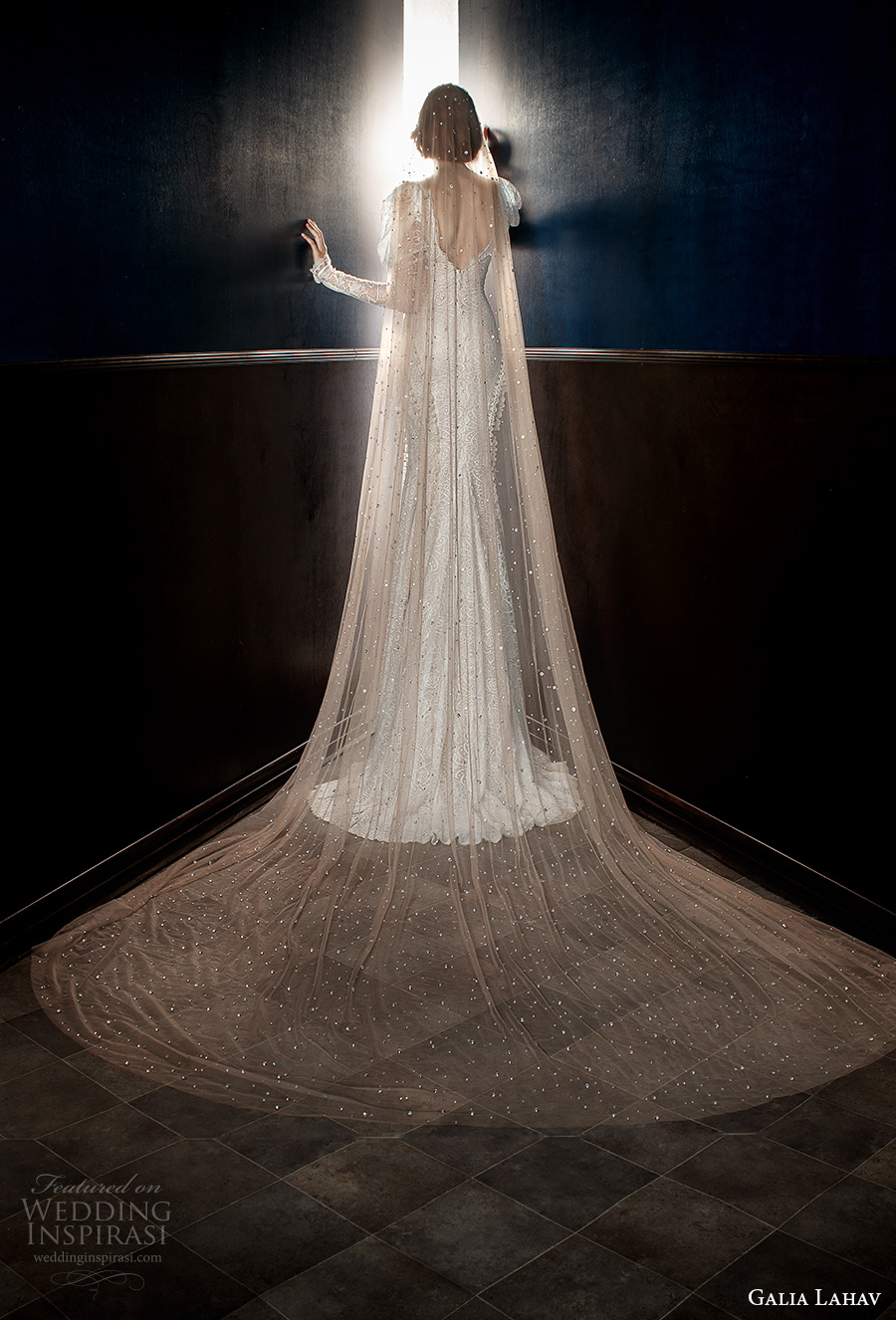 galia lahav spring 2018 long cathedral veil (stardust) mv