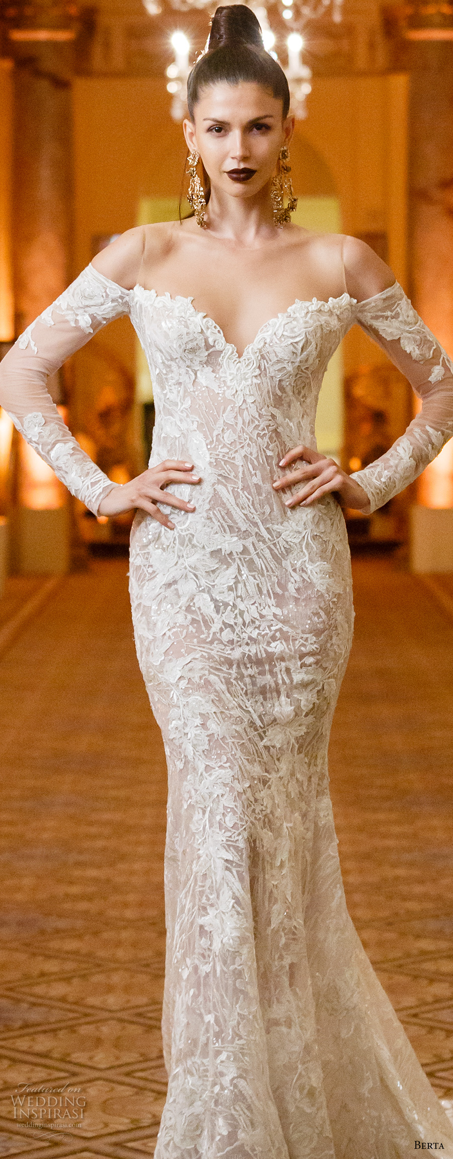 berta spring 2018 bridal long sleeves off the shoulder sweetheart neckline full embellishment elegant sexy fit and flare wedding dress open low back chapel train (02) zv