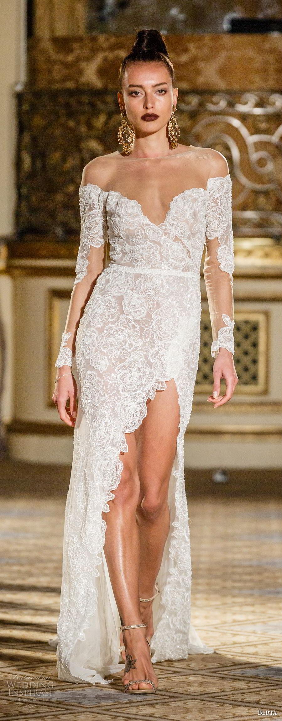 f32a0432 berta spring 2018 bridal long sleeves off the shoulder sweetheart neckline  full embellishment side slit elegant