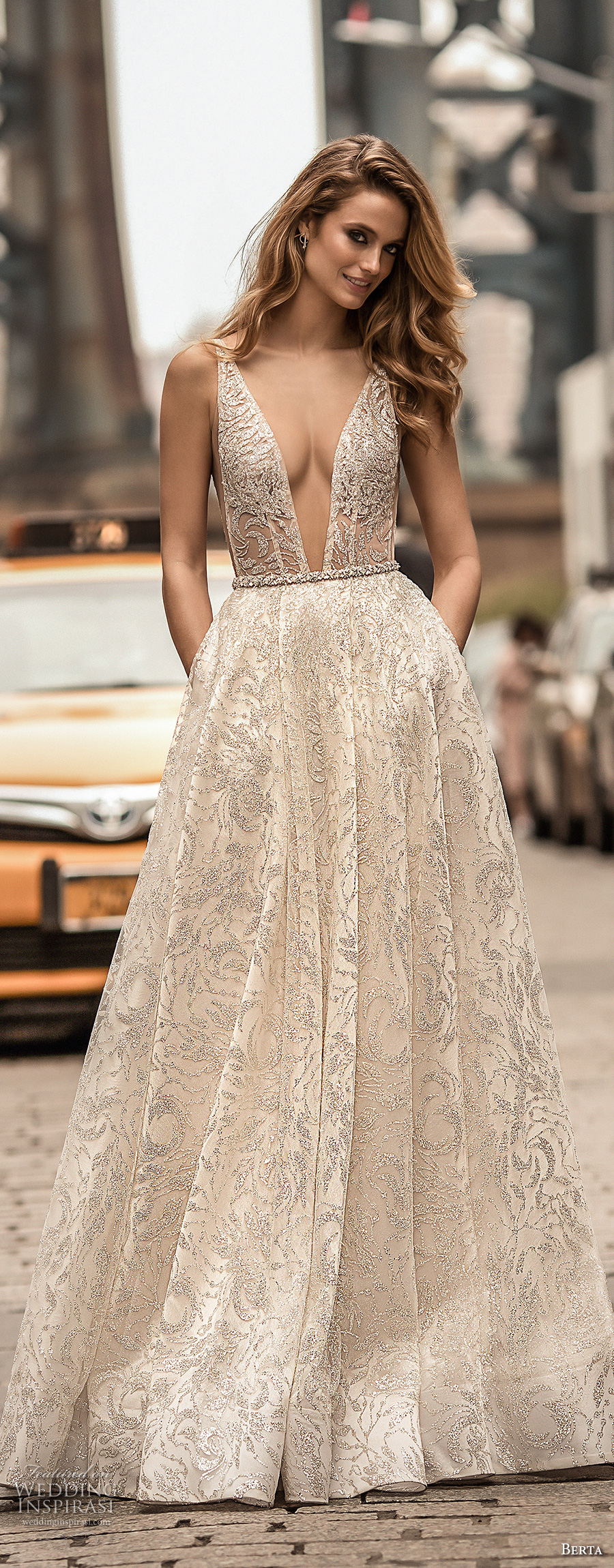 berta spring 2018 bridal sleeveless deep plunging v neck full embellishment sexy romantic a line wedding dress pockets open scoop back chapel train (4) mv