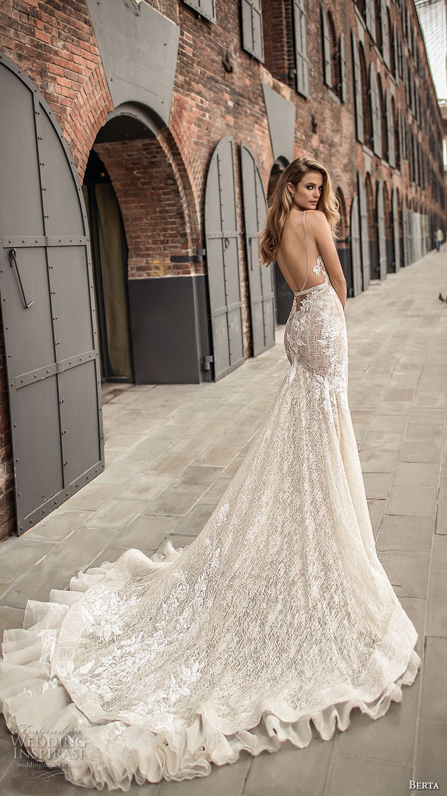 d2a408269d4 berta spring 2018 bridal sleeveless deep plunging v neckline full  embellishment sexy elegant fit and flare