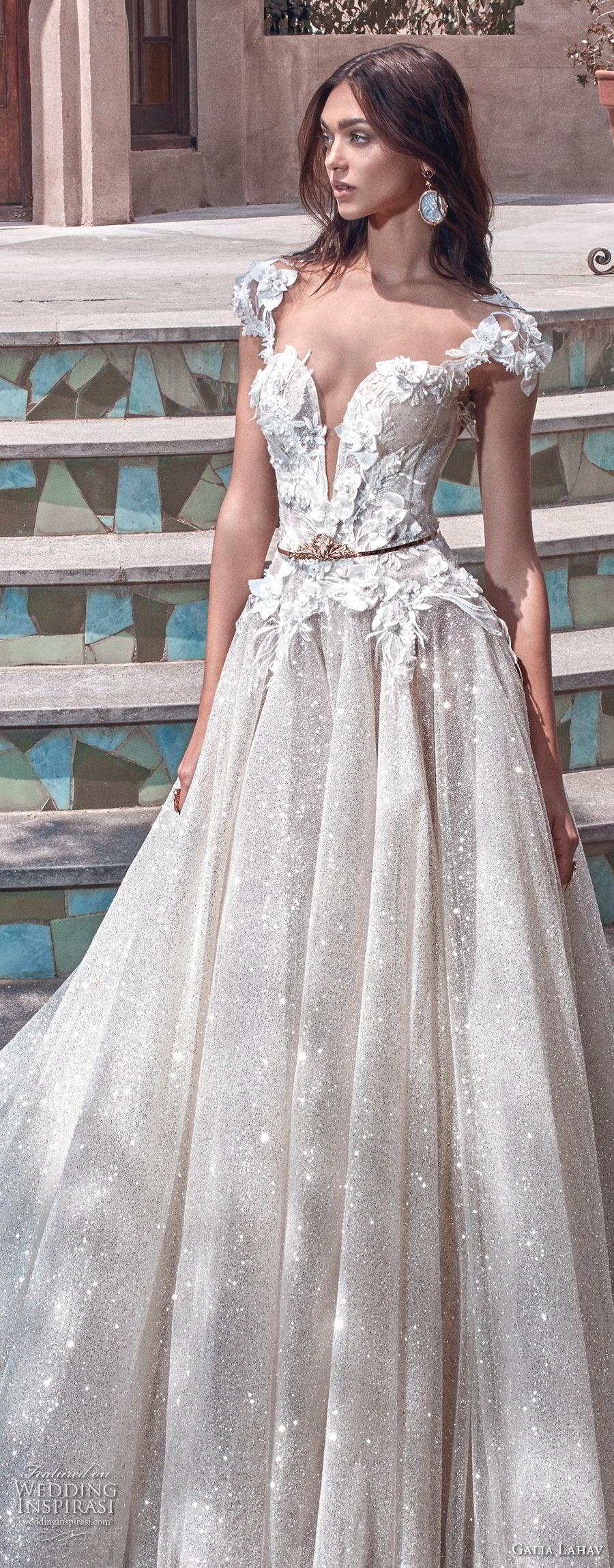 galia lahav spring 2018 bridal cap sleeves deep plunging sweetheart neckline heavily embellished bodice glitter skirt romantic a line wedding dress open back chapel train (liliya) zv