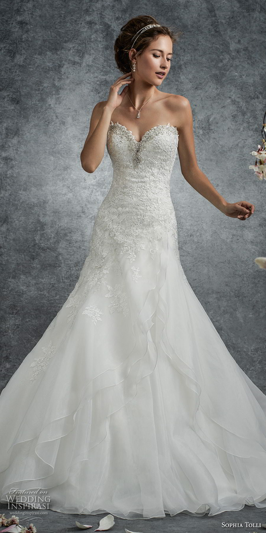 Dress Neckline Sweetheart Flare Fit Wedding Embellished And And Lace Soft Tulle Line