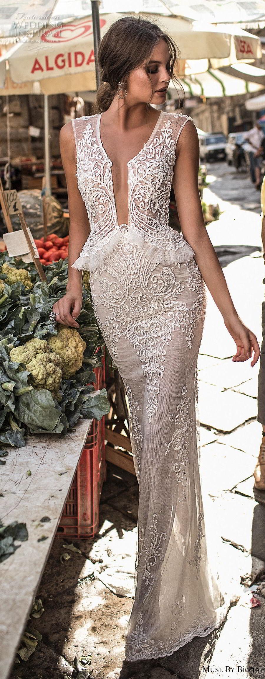 muse berta 2018 bridal sleeveless deep plunging v neck heavily embellished bodice elegant sexy peplum sheath wedding dress sheer keyhole back (6) lv