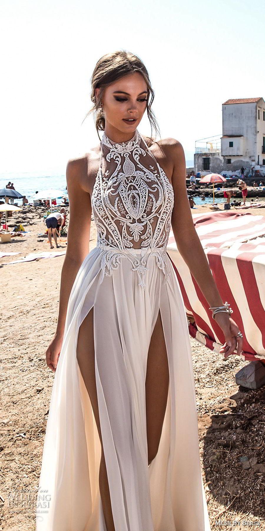 muse berta 2018 bridal sleeveless high neck halter neck heavily embellished bodice high slit skirt sexy glamorous soft a line wedding dress open back sweep train (5) mv
