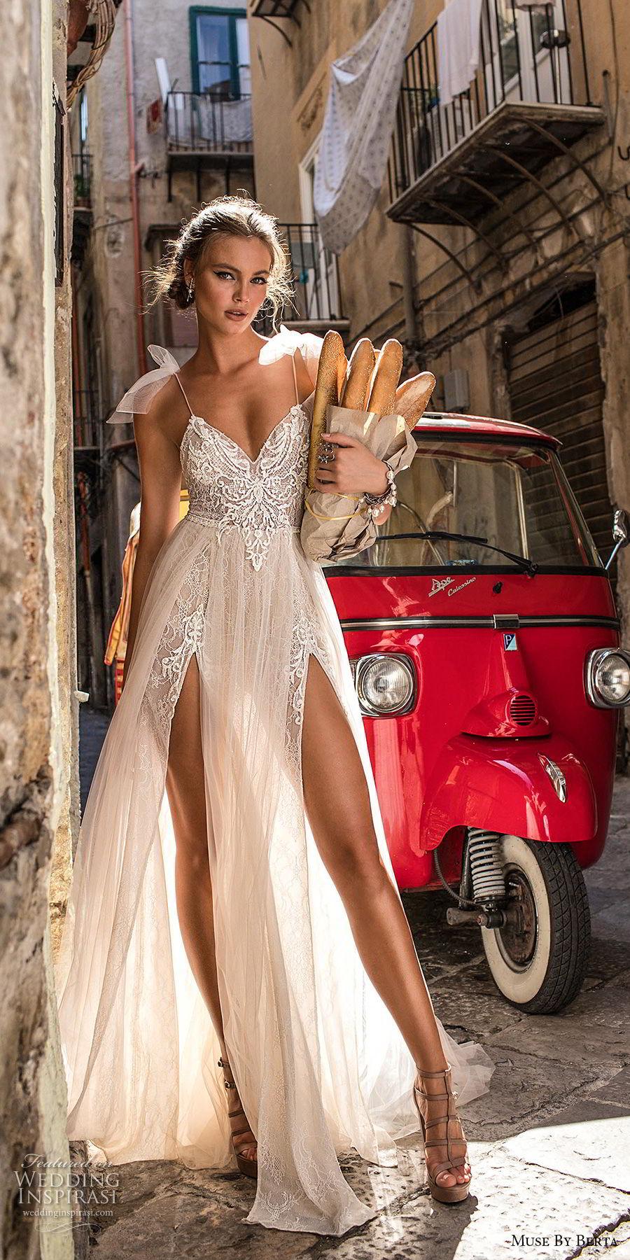muse berta 2018 bridal spaghetti strap sweetheart neckline heavily embellished bodice high slit tulle skirt sexy soft a line wedding dress sweep train (1) mv