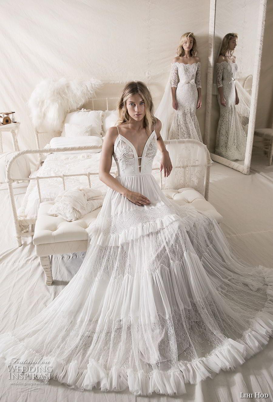 lihi hod 2018 bridal sleeveless spaghetti strap deep plunging sweetheart neckline romantic bohemian a line wedding dress open v back sweep train (1) mv