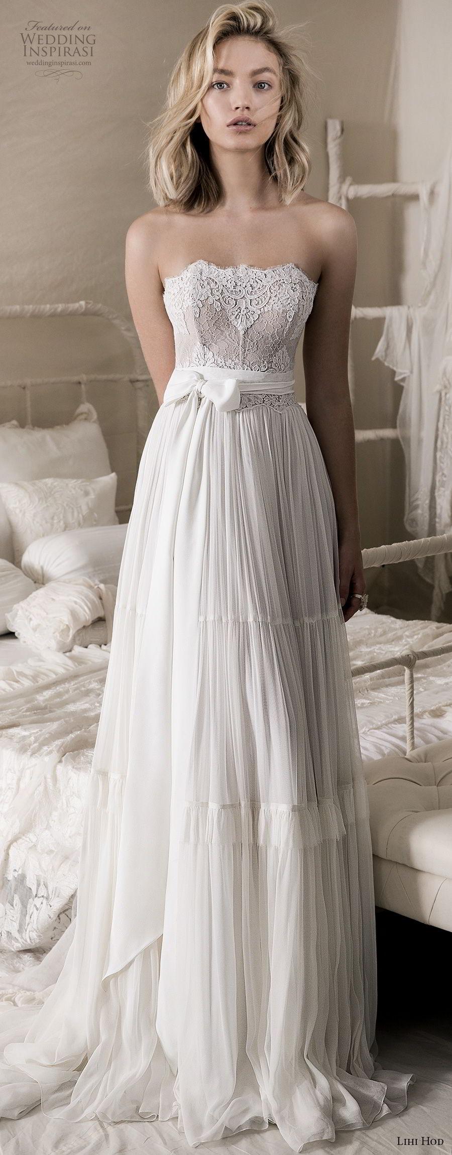 lihi hod 2018 bridal strapless straight across neckline heavily embellished bodice romantic bohemian soft a line wedding dress medium train (3) lv fv