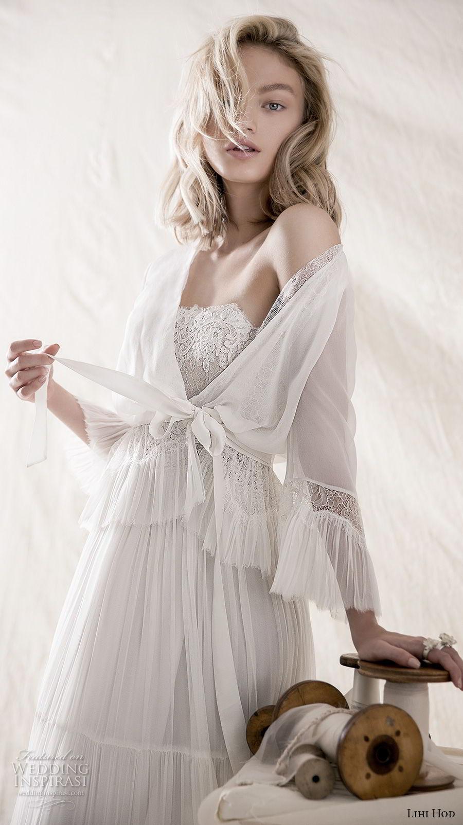 lihi hod 2018 bridal strapless straight across neckline heavily embellished bodice romantic bohemian soft a line wedding dress medium train (3) zv