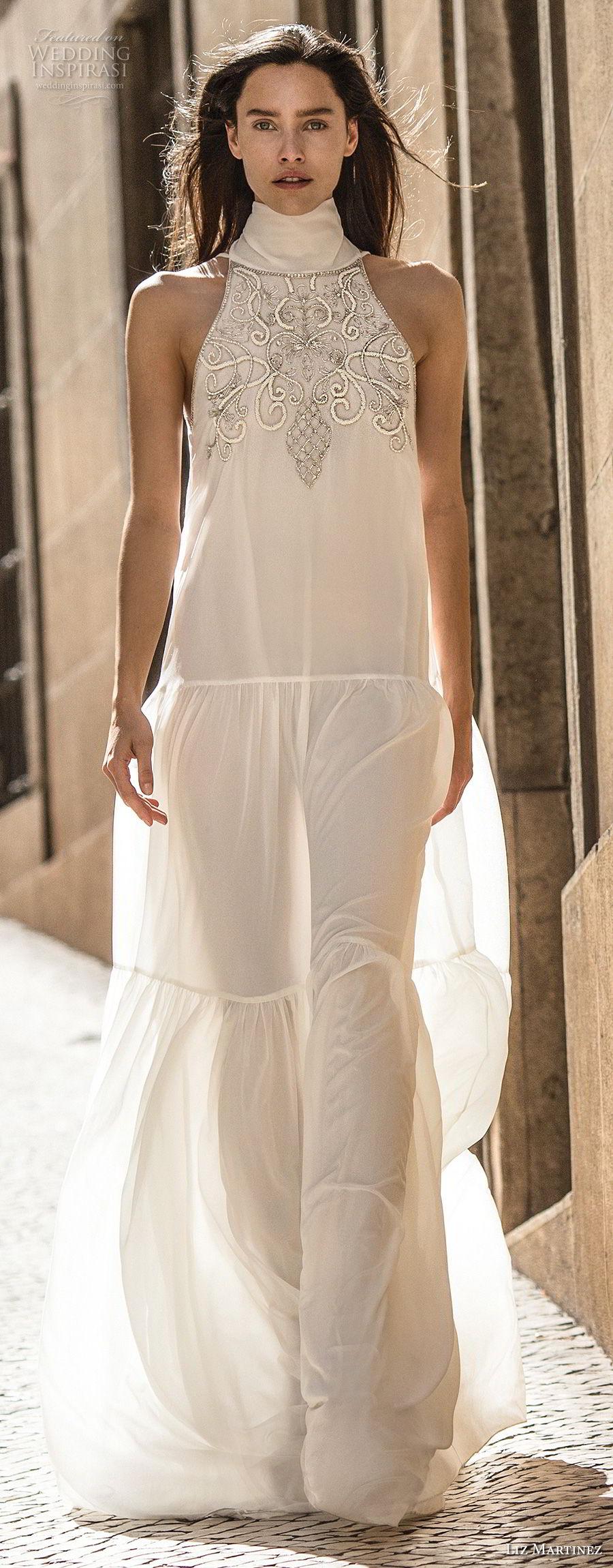 liz martinez 2018 lisbon sleeveless halter high neck heavily embellished bodice romantic elegant column a line wedding dress v back sweep train (3) mv