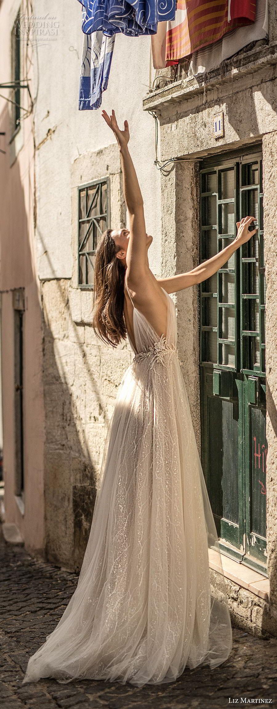 liz martinez 2018 lisbon spaghetti strap deep plunging sweetheart neckline side open romantic sexy soft a line wedding dress open v back sweep train (1) sdv