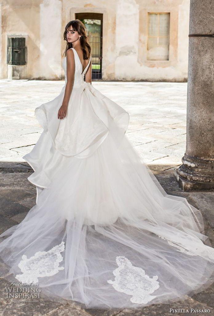 pinella passaro 2018 bridal sleeveless v neck wrap over bodice simple romantic peplum princess ball gown a line wedding dress open v back royal train (13) bv -- Pinella Passaro 2018 Wedding Dresses