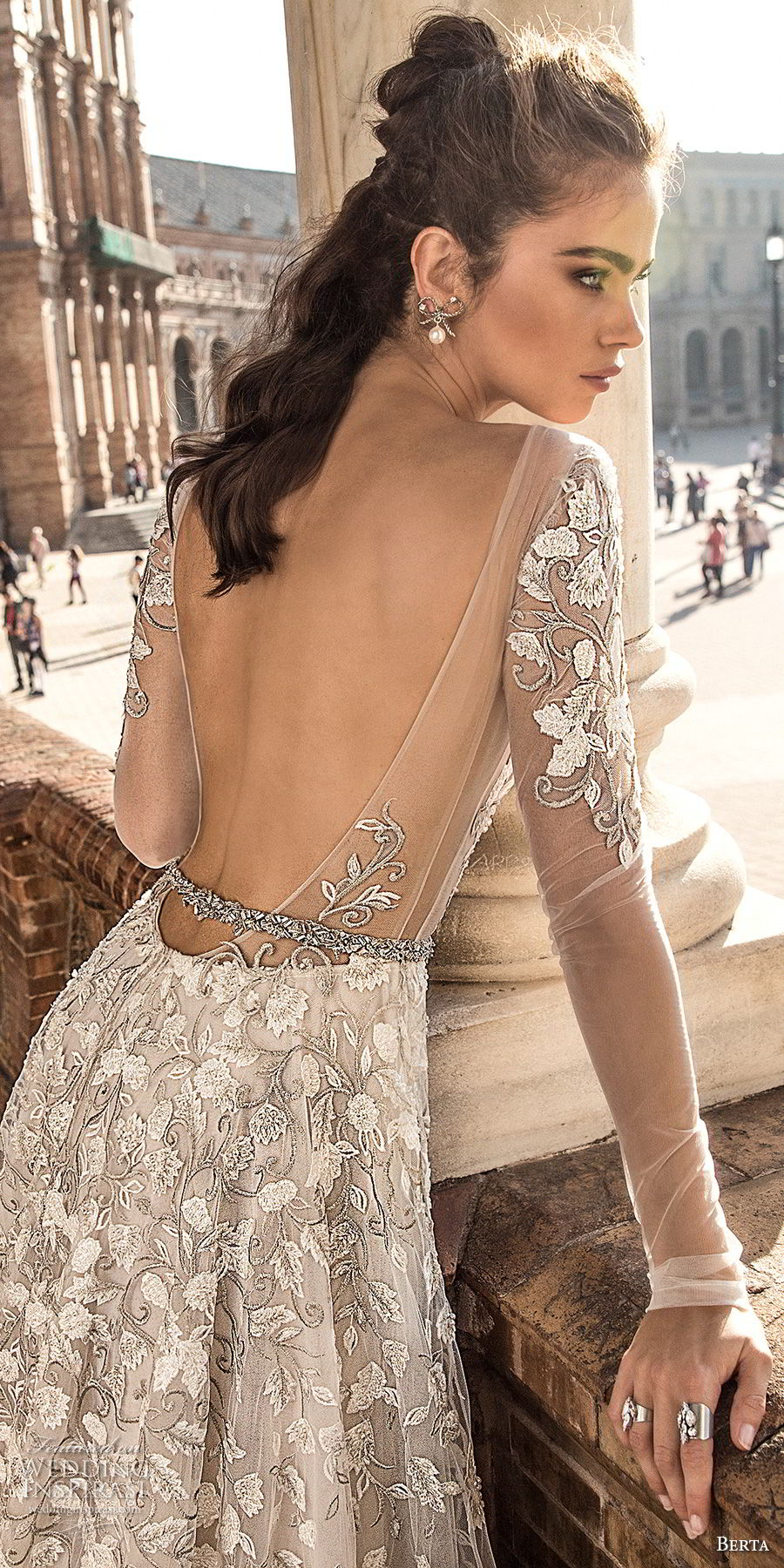 berta fall 2018 bridal long sleeves deep plunging v neck full embellishment romantic sexy a line wedding dress open back chapel train (3) zbv