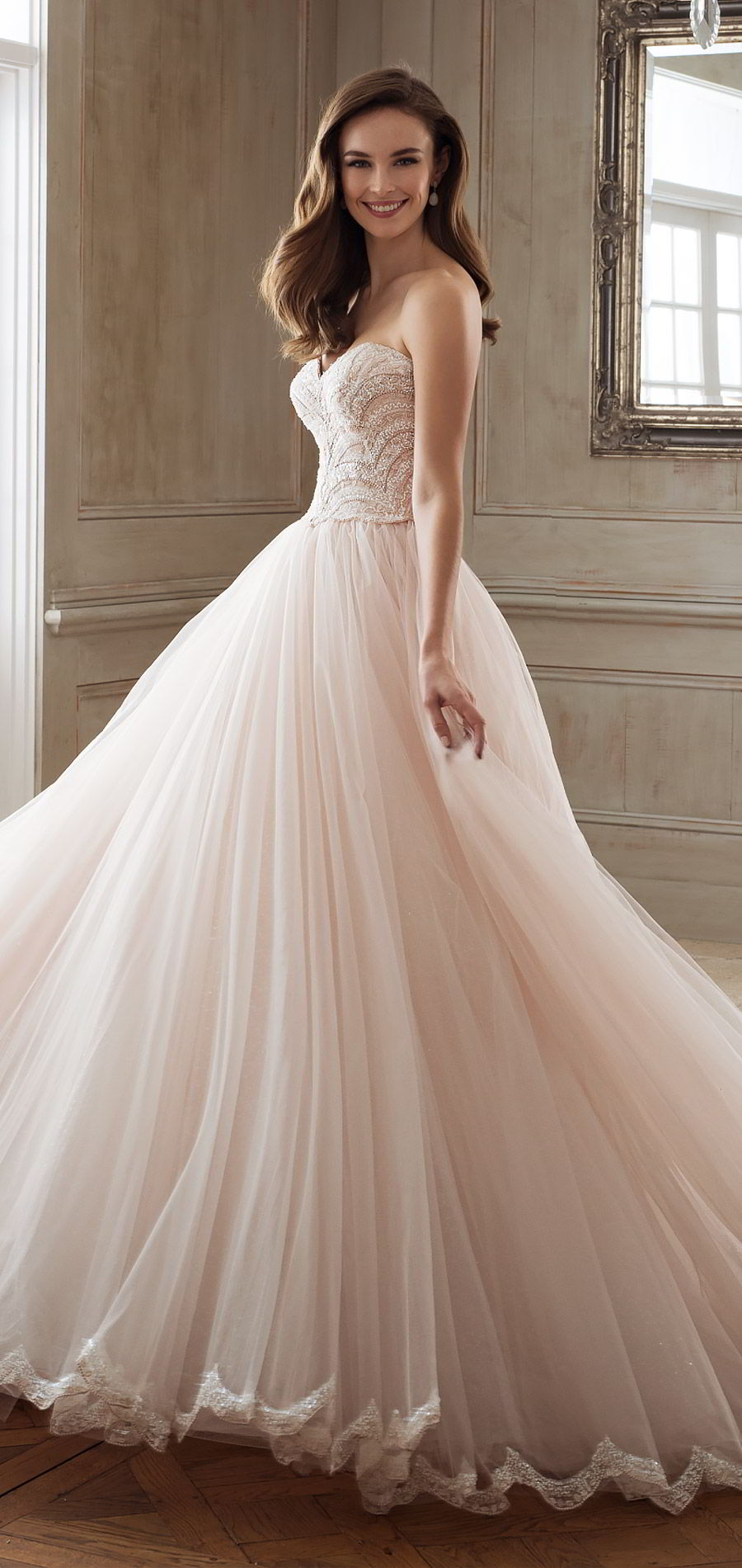 sophia tolli spring 2018 mon cheri bridals strapless sweetheart beaded lace bodice ball gown wedding dress (y11891 aella) mv chapel train blush princess romantic