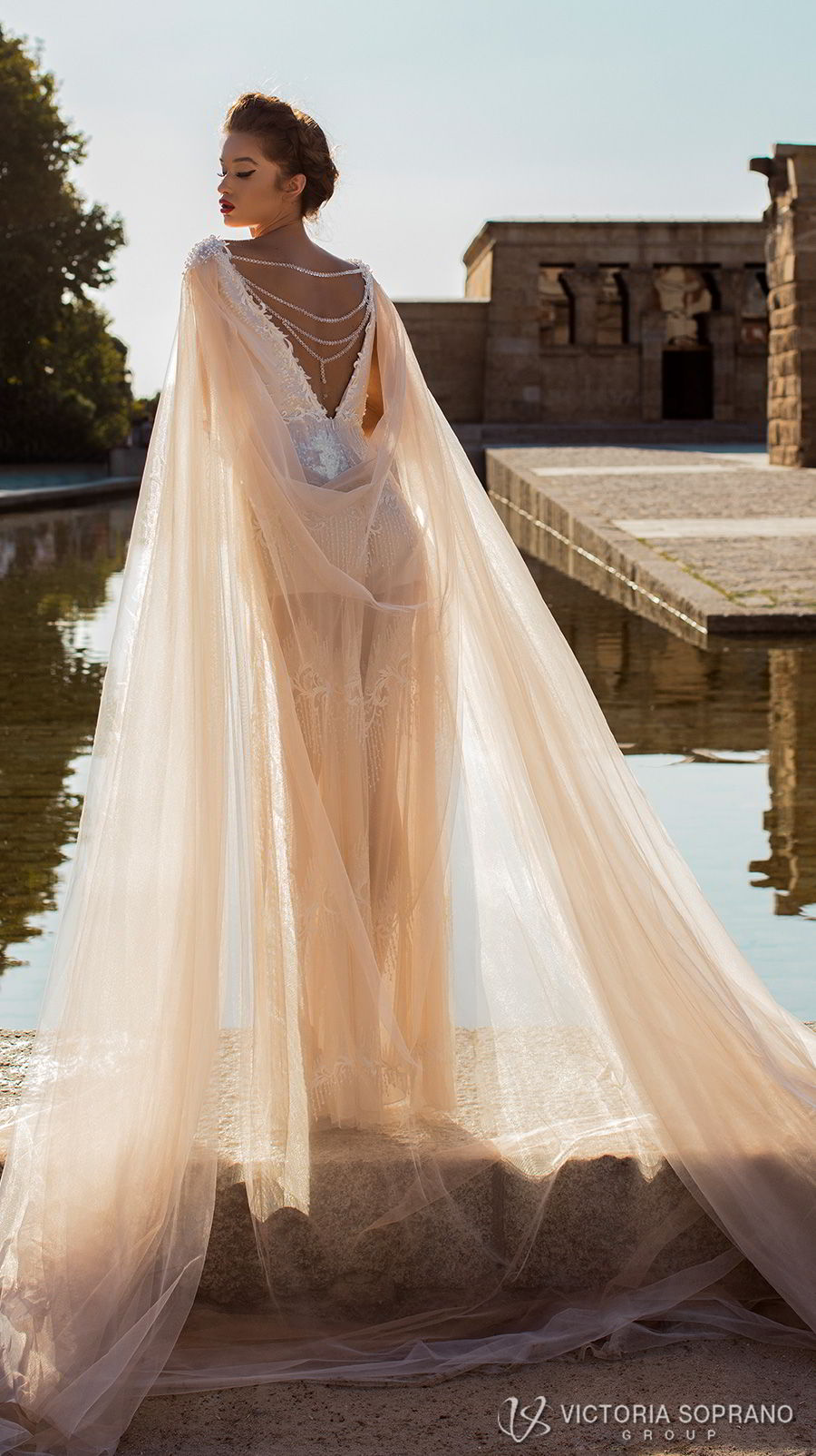 victoria soprano 2018 bridal cap sleeves bateau neckline full embellishment modern champagne color soft a line wedding dress v back chapel cape train (emma) bv