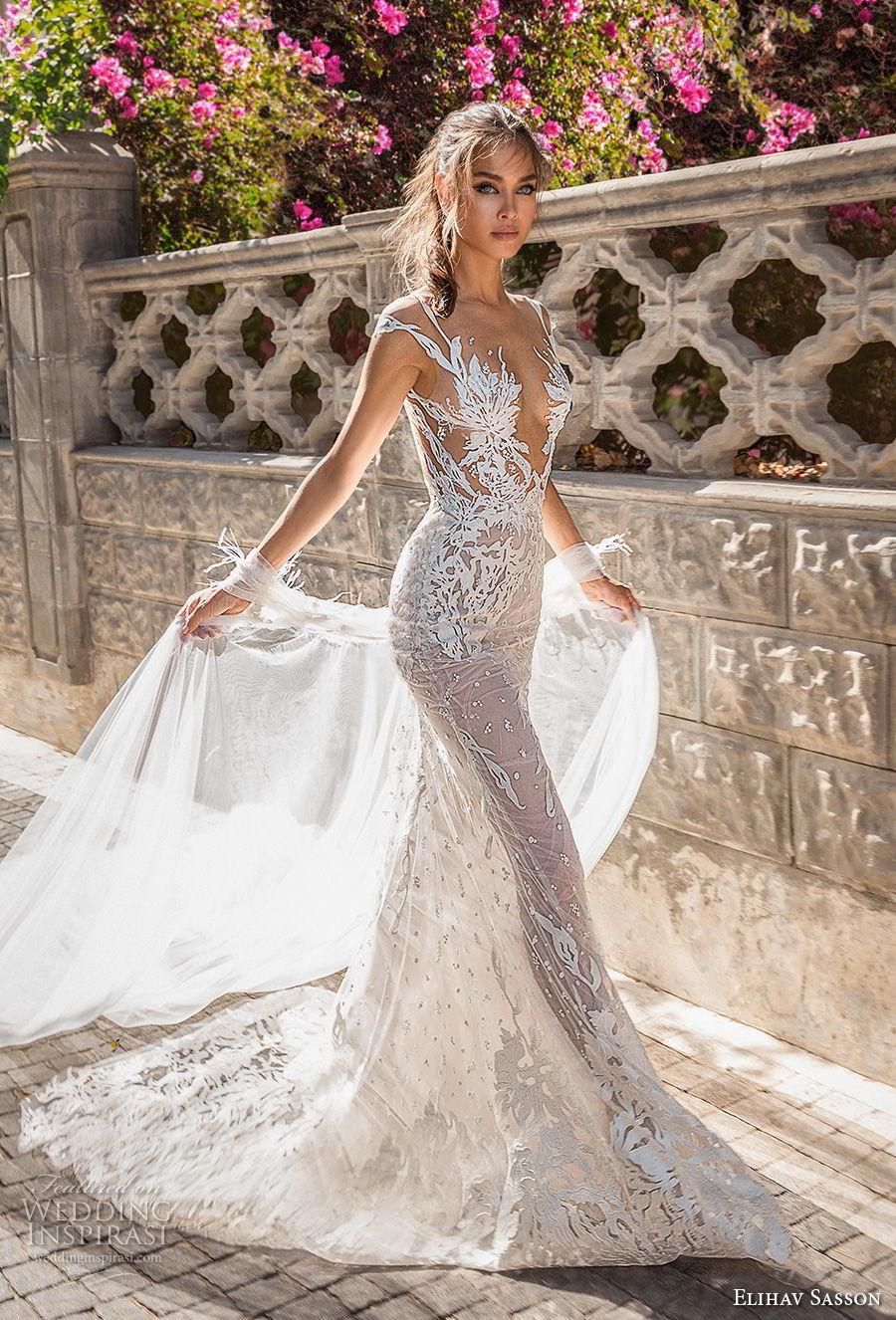 elihav sasson 2018 capsule bridal cap sleeves deep v neck full embellishment sexy modified a line wedding dress open low back medium train (3) mv