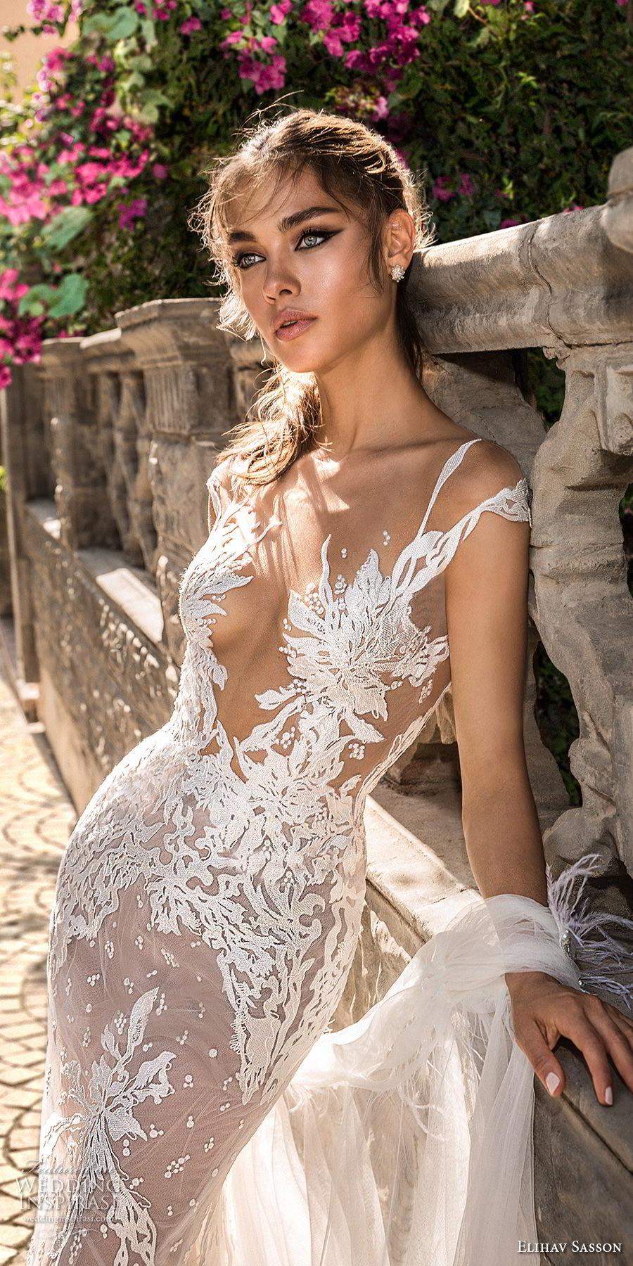 elihav sasson 2018 capsule bridal cap sleeves deep v neck full embellishment sexy modified a line wedding dress open low back medium train (3) zv