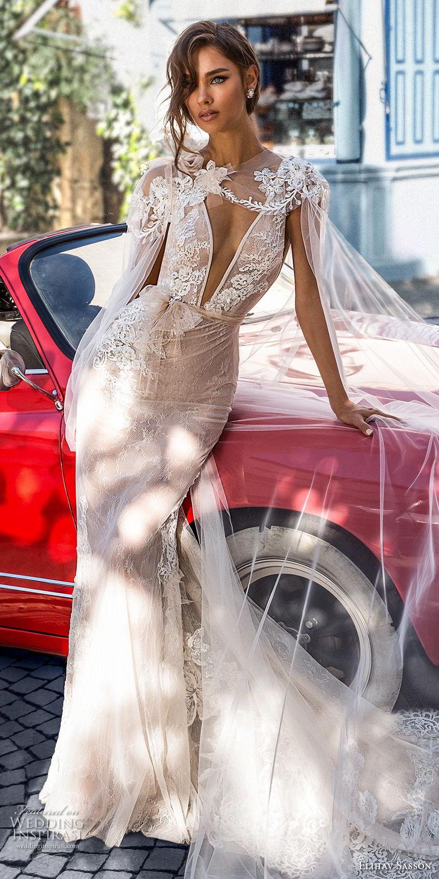elihav sasson 2018 capsule bridal sleeveless deep v neck heavily embellished bodice side open sexy elegant sheath wedding dress open v back chapel train (4) mv