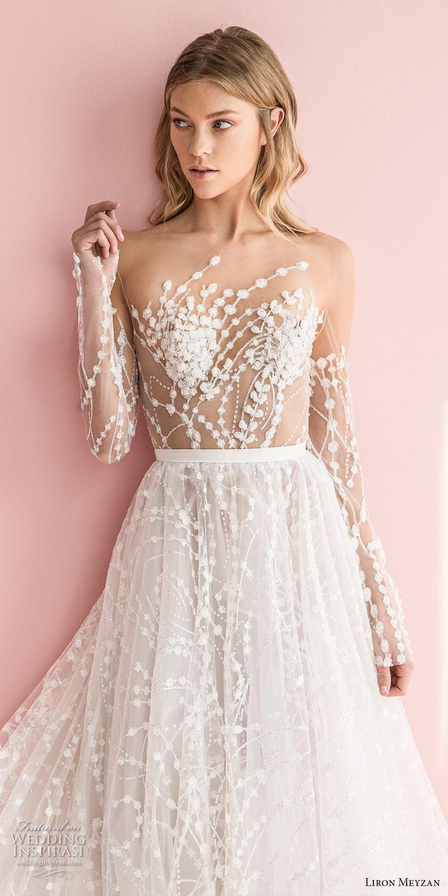liron meyzan 2018 bridal long sleeves sweetheart heart neckline full embellishment romantic modern a line wedding dress open v back chapel train (1) zv mv