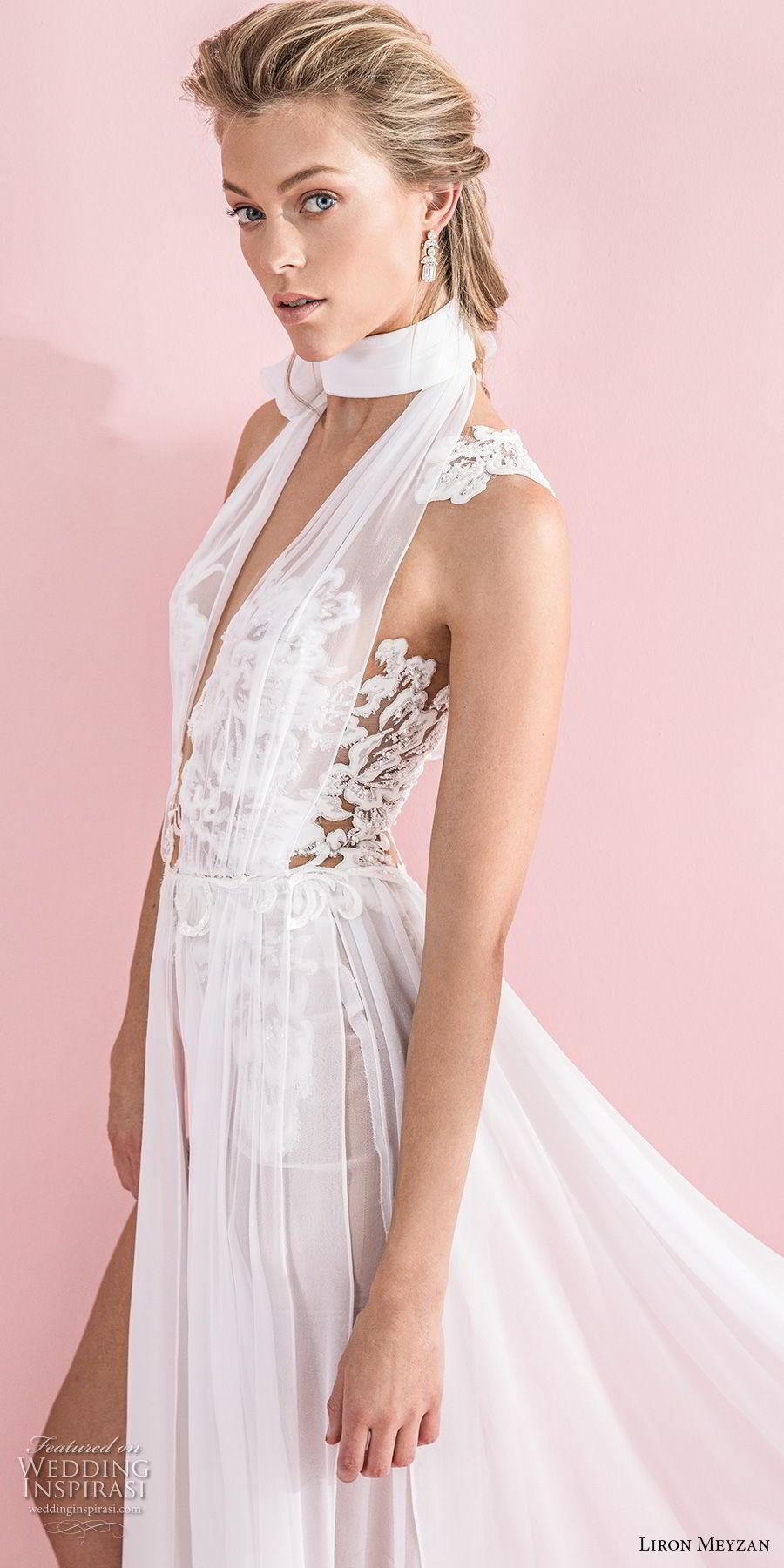 liron meyzan 2018 bridal sleeveless high neck deep v neck heavily embellished bodice sexy chic soft a line wedding sheer lace back sweep train (4) zv mv