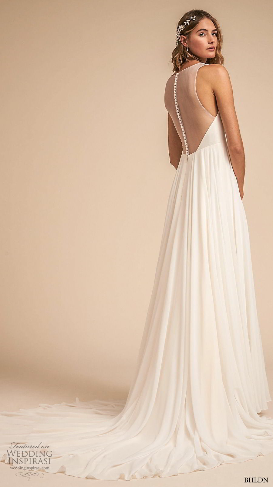 bhldn 2018 away bridal sleeveless deep v neck ruched bodice simple classic a line weding dress sheer button back medium train (2) bv