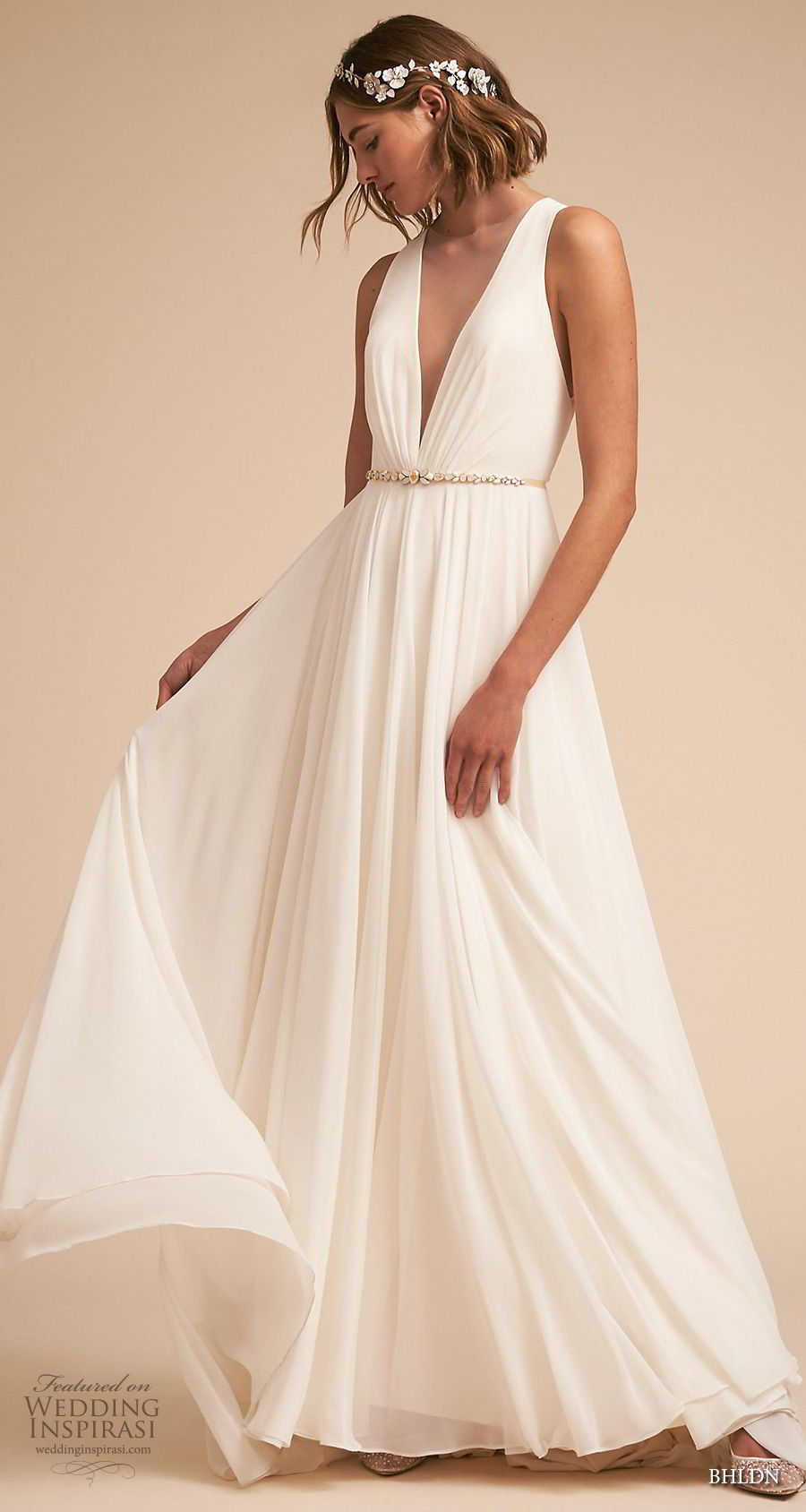 bhldn 2018 away bridal sleeveless deep v neck ruched bodice simple classic a line weding dress sheer button back medium train (2) mv