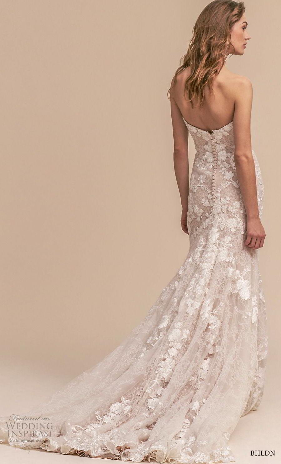 bhldn 2018 whispers bridal strapless sweetheart neckline full embellishment romantic blush mermaid weddinbg dress chapel train (3) bv