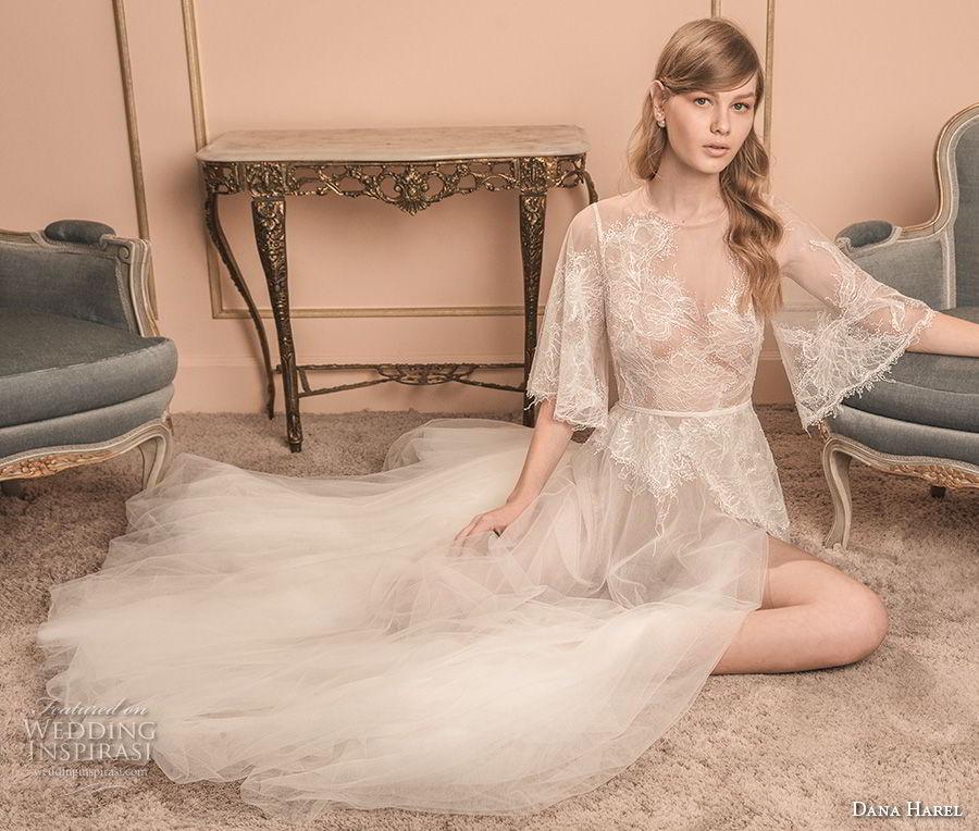dana harel 2018 bridal half bell sleeves illusion jewel neck heavily embellished bodice high slit skirt romantic a line wedding dress v back sweep train (4) mv