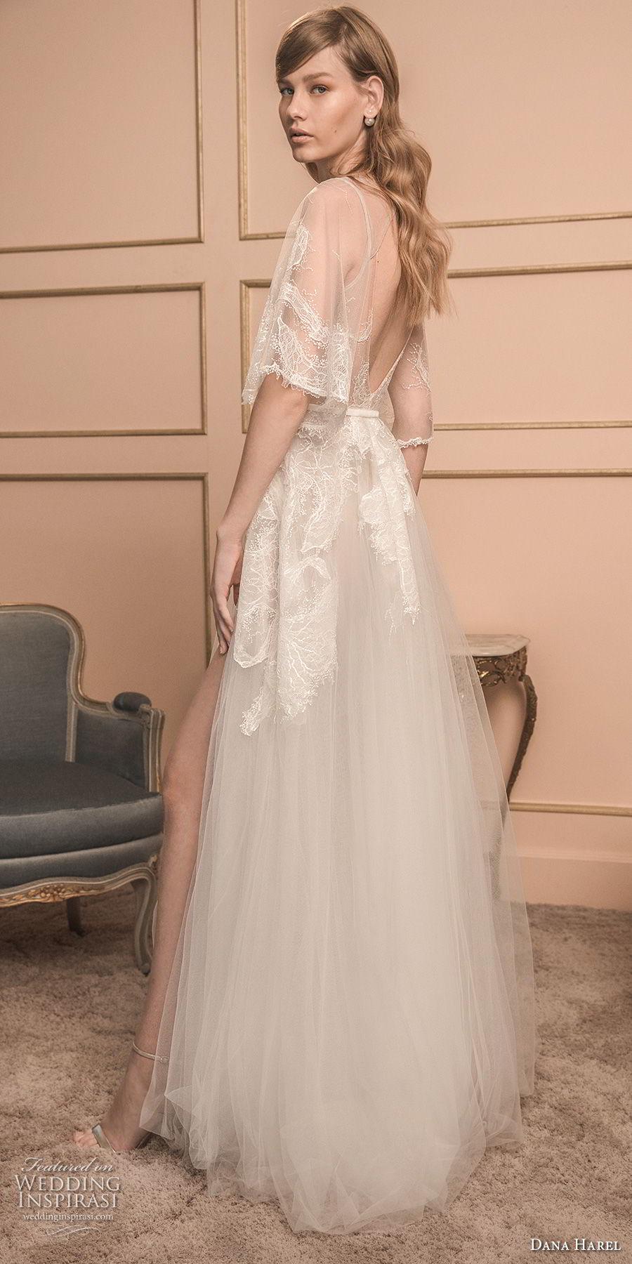 dana harel 2018 bridal half bell sleeves illusion jewel neck heavily embellished bodice high slit skirt romantic a line wedding dress v back sweep train (4) sdv