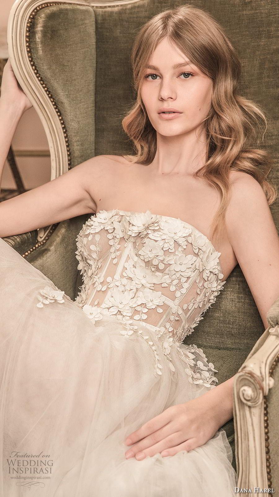 dana harel 2018 bridal strapless sweetheart neckline heavily embellished bodice tulle skirt romantic soft a line wedding dress chapel train (1) zv