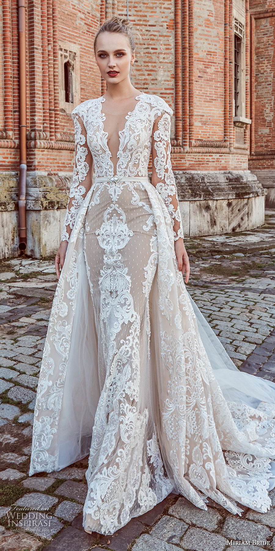 miriams bride 2018 bridal long sleeves deep v neck full embellishment glamorous elegant fit and flare wedding dress a line overskirt sheer button back royal train (4) mv