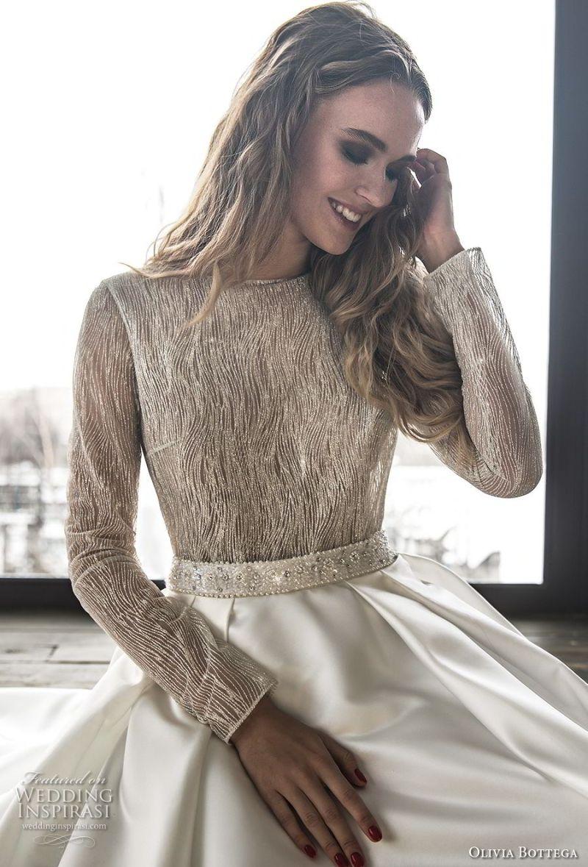 olivia bottega 2018 bridal long sleeves bateau neckline heavily embellished bodice satin skirt elegant a  line wedding dress chapel train (9) zv