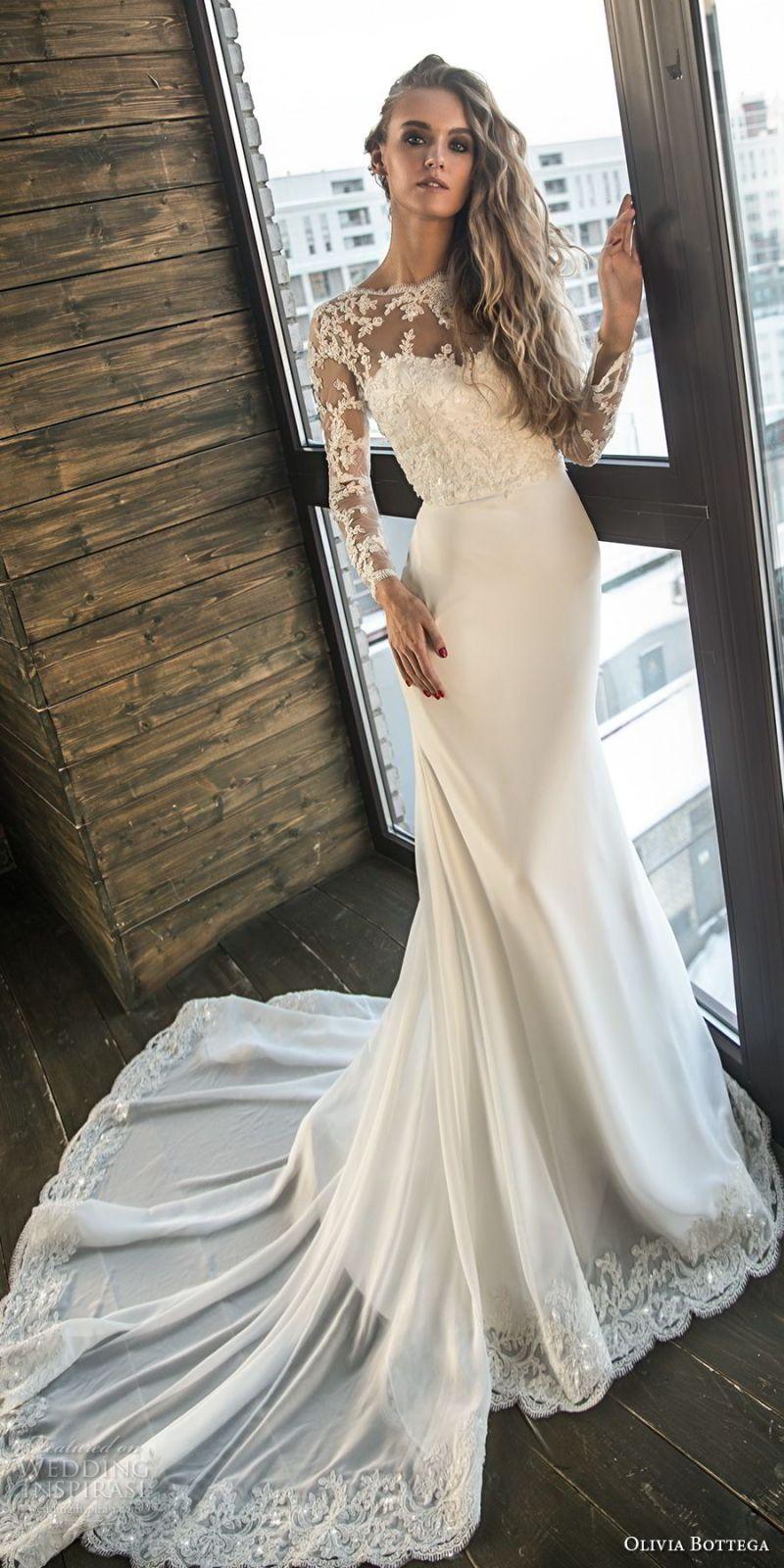 olivia bottega 2018 bridal long sleeves illusion bateau sweetheart neckline heavily embellished bodice elegant fit and flare wedding dress v back chapel train (7) mv