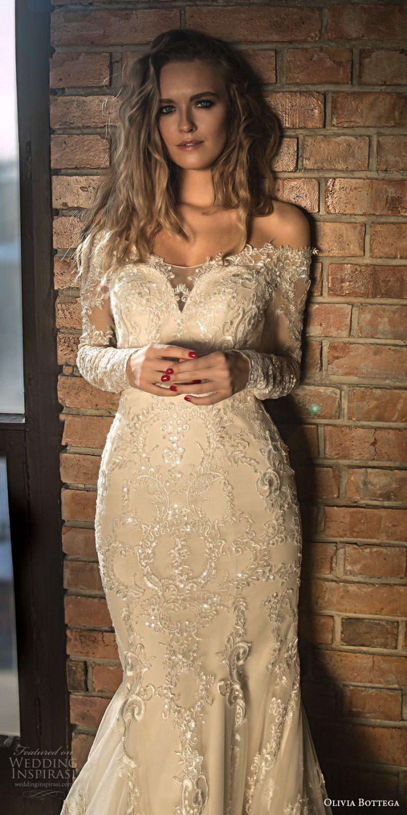 olivia bottega 2018 bridal long sleeves off rhe shoulder sweetheart neckline heavily embellished bodice elegant mermaid wedding dress sheer lace button back chapel train (4) zv