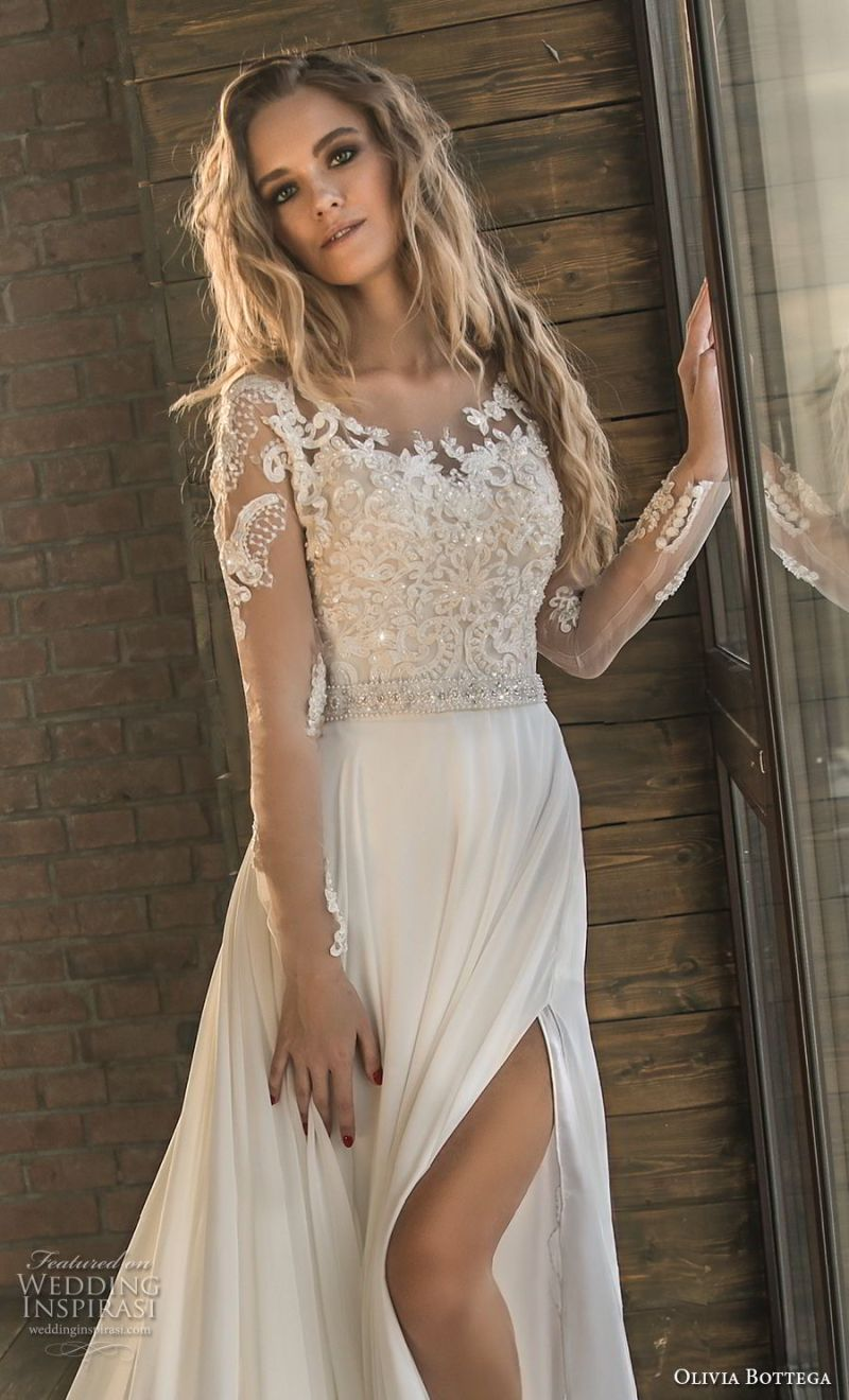 olivia bottega 2018 bridal long sleeves sweetheart neckline heavily embellished bodice side slit elegant a  line wedding dress lace button back chapel train (3) zv