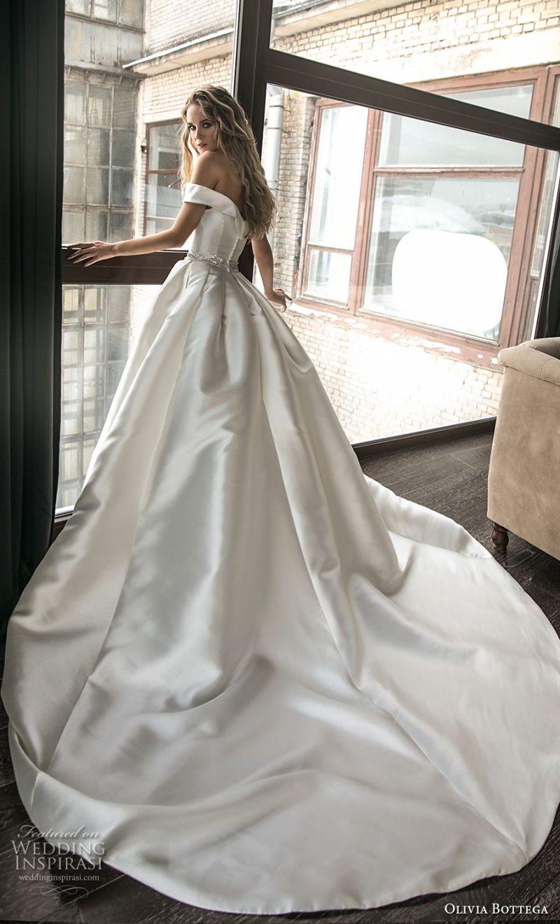 olivia bottega 2018 bridal off the shoulder straight across neckline simple clean elegant classic elegant ball gown a  line weding dress with pockets chapel train (5) bv