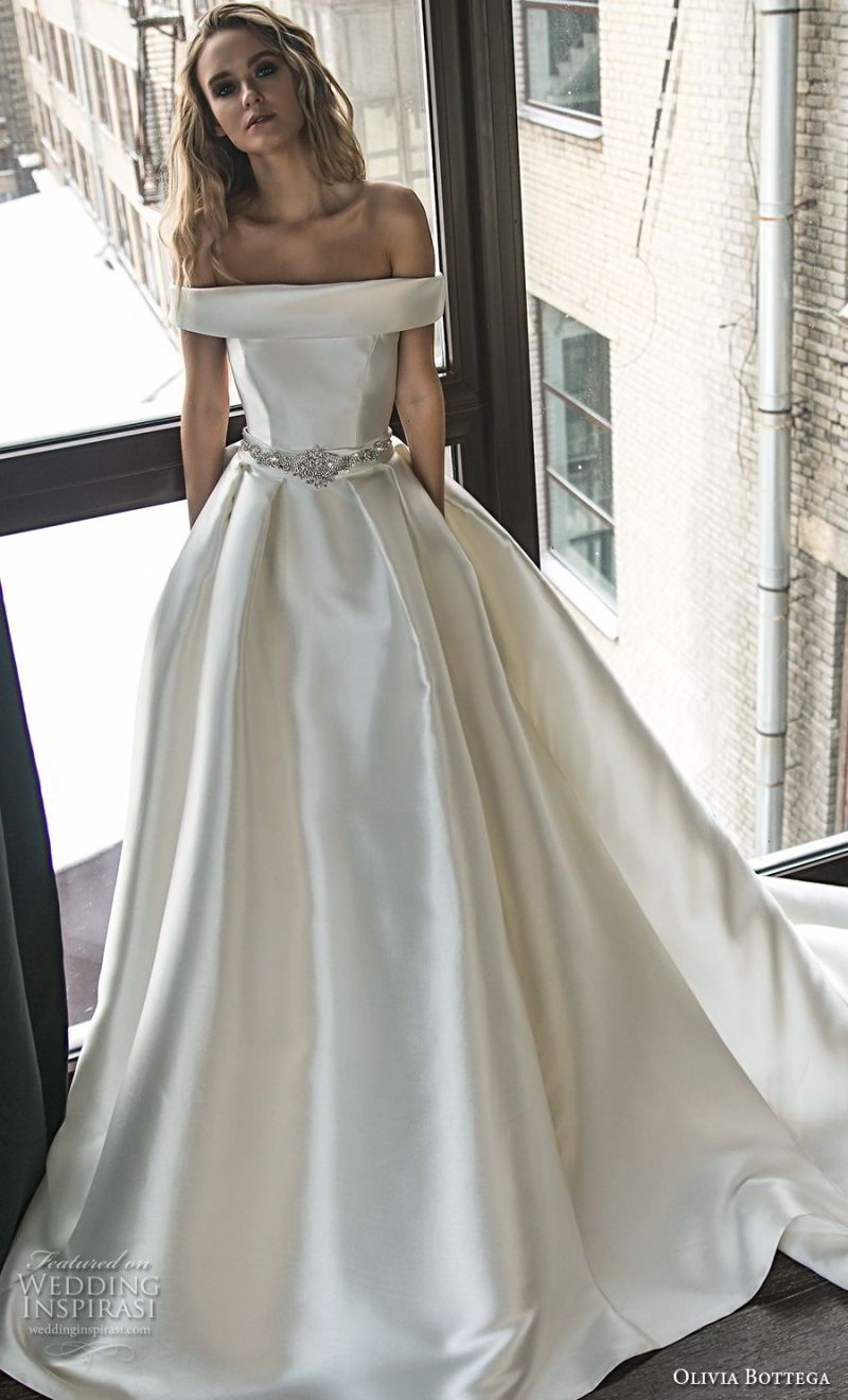olivia bottega 2018 bridal off the shoulder straight across neckline simple clean elegant classic elegant ball gown a  line weding dress with pockets chapel train (5) mv