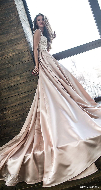 olivia bottega 2018 bridal off the shoulder sweetheart neckline heavily embellished bodice satin skirt romantic a  line wedding dress chapel train (10) sdv