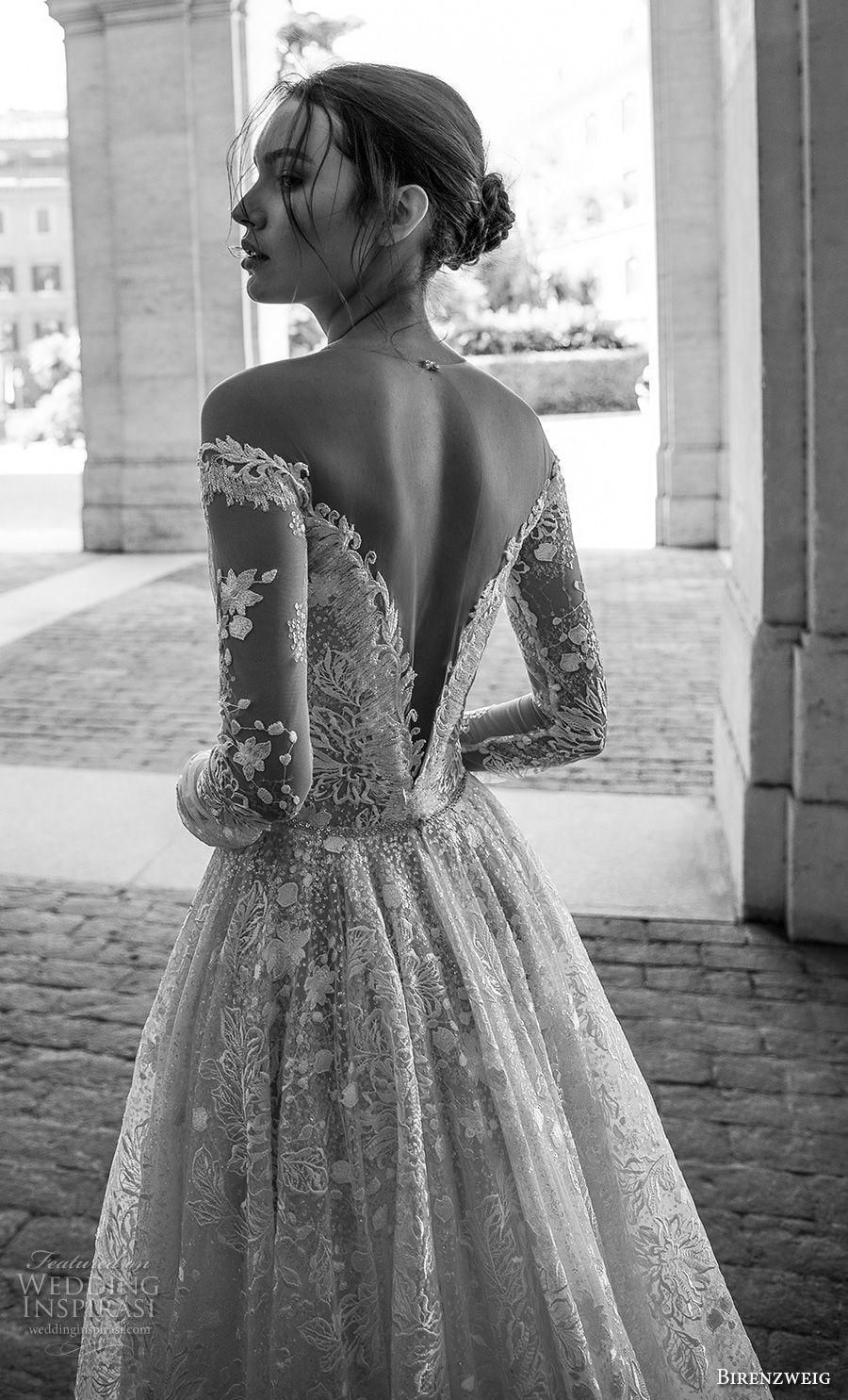 birenzweig 2018 bridal long sleeves off the shoulder deep plunging v neck full embellishment a line wedding dress sheer v back chapel train (1) zbv